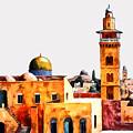 Jerusalem Domes And Minarets by Munir Alawi