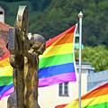 Jesus Christ Crucifixion And Gay Pride Flags View by Brch Photography