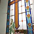 Jesus In The Church Window And School Girls In The Background by Sven Brogren