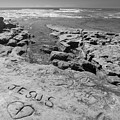 Jesus On The Rock Black And White by Scott Campbell