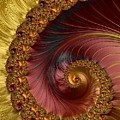 Jewel Gold  Fractal Spiral  by Mo Barton