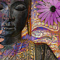 Jewels Of Wisdom - Buddha Floral Artwork by Christopher Beikmann