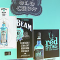 Jim Beam's Old Crow And Red Stag Signs - Color Invert by Marian Bell