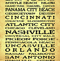 Jimmy Buffett Margaritaville Locations Black Font On Yellow Brown Texture by John Stephens