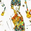 Joan Jett Colorful Paint Splatter by Dan Sproul