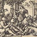 Job Conversing With His Friends by Sebald Beham