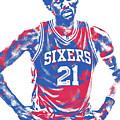 Joel Embiid Philadelphia Sixers Pixel Art 10 by Joe Hamilton
