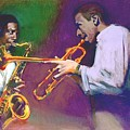 Horn Play - John Coltrane - Lee Morgan  by Suzanne Cerny