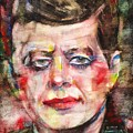 John F. Kennedy - Watercolor Portrait.3 by Fabrizio Cassetta