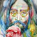 John Lennon - Watercolor Portrait.9 by Fabrizio Cassetta