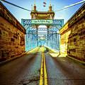 John Roebling Bridge - Cincinnati Vintage Art by Gregory Ballos