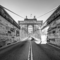 John Roebling Bridge Entrance - Cincinnati Ohio Black And White by Gregory Ballos