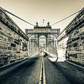 John Roebling Bridge Entrance - Cincinnati Ohio Sepia Print by Gregory Ballos