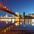 John Roebling Bridge Reflections - Cincinnati Ohio Skyline by Gregory Ballos