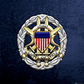 Joint Chiefs Of Staff - J C S Identification Badge On Blue Velvet by Serge Averbukh