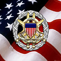 Joint Chiefs Of Staff - J C S Identification Badge Over U. S. Flag by Serge Averbukh