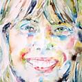Joni Mitchell - Watercolor Portrait by Fabrizio Cassetta
