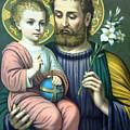Joseph And Baby Jesus by Munir Alawi