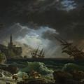 Joseph Vernet   A Shipwreck In Stormy Seas by PixBreak Art