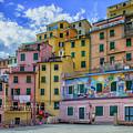 Joy In Colorful House In Piazza Di Riomaggiore, Cinque Terre, Italy by Sanchez PhotoArt
