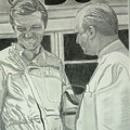 Juan Manuel Fangio And Graf Berghe Von Trips by Antje Wieser
