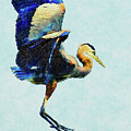 Jumping For Joy Heron Whimsy by Isabella Howard