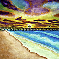 Juno Beach Pier Florida Seascape Sunrise Painting A1 by Ricardos Creations
