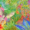 Jungle Spirits And Humming Bird by Jennifer Baird