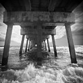 Juno Beach Pier Sunrise Seascape Black And White D8 by Ricardos Creations