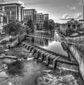 Just Before Sunset B W Reedy River Falls Park Greenville South Carolina Art by Reid Callaway
