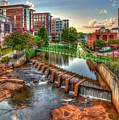 Just Before Sunset Reedy River Falls Park Greenville South Carolina Art by Reid Callaway
