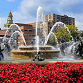 Kansas City Fountain Ablaze In Crimson by Mitchell R Grosky