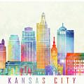 Kansas City Landmarks Watercolor Poster by Pablo Romero