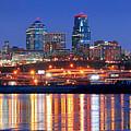 Kansas City Missouri Skyline At Night by Jon Holiday