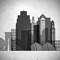 Kansas City Skyline In Black And White by Dim Dom
