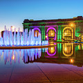 Kansas City Union Station Bloch Fountain Lights At Dusk by Gregory Ballos
