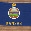 Kansas Rustic Map On Wood by Dan Sproul