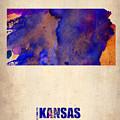Kansas Watercolor Map by Naxart Studio