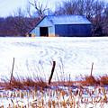 Kansas Winter Field Barn 1 by Anna Louise
