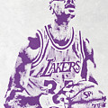 Kareem Abdul Jabbar Los Angeles Lakers Pixel Art by Joe Hamilton