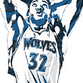 Karl Anthony Towns Minnesota Timberwolves Pixel Art by Joe Hamilton