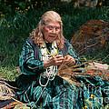 Kashia Pomo Woman Weaving Basket by Inga Spence