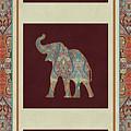 Kashmir Elephants - Vintage Style Patterned Tribal Boho Chic Art by Audrey Jeanne Roberts