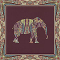 Kashmir Patterned Elephant 2 - Boho Tribal Home Decor  by Audrey Jeanne Roberts