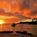Kauai Sunset And Boat At Anchor by Scott Carda
