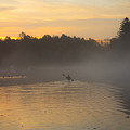 Kayak On The River At Dawn by David Stone