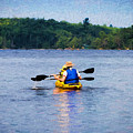 Kayak Paddling In Algonquin Park by Les Palenik