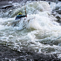 Kayak Roll Up In Pipeline Rapids 5959 by Doug Berry