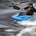 Kayaker Riding The Flow Of The Shannon River Limerick Ireland by Pierre Leclerc Photography
