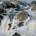 Kayaker Running Great Falls by Skip Brown